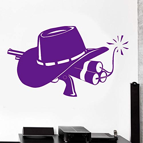 Guijiumai Cowboy Gun And Hat Wild West Western Wall Sticker Vinilo Decoración Del Hogar Sala De Estar Adolescentes Dormitorio Tatuajes De Pared