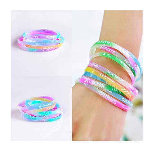 VADOO 40 Stücke Silikon Armbänder mit Sprüchen für Kinder Geburtstag Party Geschenk Mitgebsel