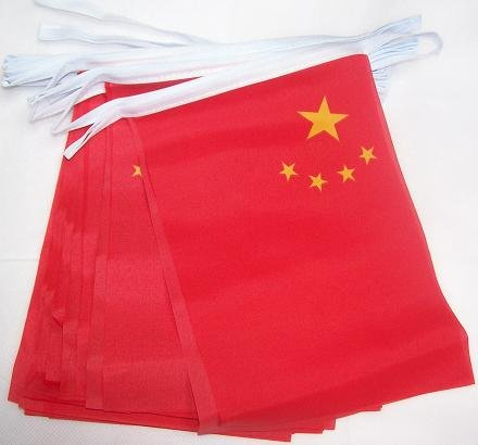 AZ FLAG FAHNENKETTE China 6 Meter mit 20 flaggen 21x14cm - CHINESISCHE Girlande Flaggenkette 14 x 21 cm 6 China