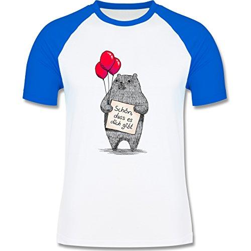 Statement Shirts - Schön, dass es dich gibt - zweifarbiges Baseballshirt für Männer Weiß/Royalblau