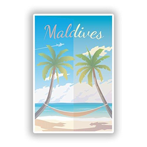 Preisvergleich Produktbild 2x Malediven Strand Vinyl Aufkleber Reise Gepäck # 10030 - 10cm/100mm Wide
