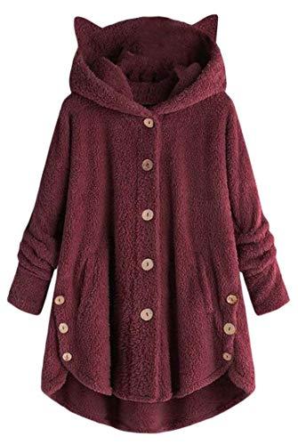BingSai Womens Winter Coat Cat Ear Pullover Hoodie Fuzzy Fleece Jacket Outerwear Wine Red XS -