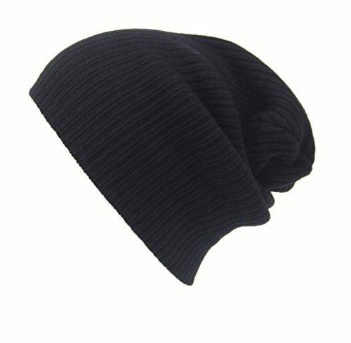 Tongshi Hombres Mujeres Beanie casquillo del Knit del esquí Hip-Hop de invierno de lana unisex sombrero caliente (Negro)