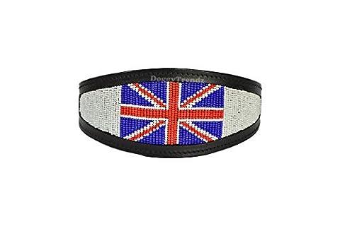 Luxus Hand Leder Perlen Whippet Windhund Lurcher Halsband Wildleder | gepolstert | Union Jack Perlen Design | 45,7cm (45cm)