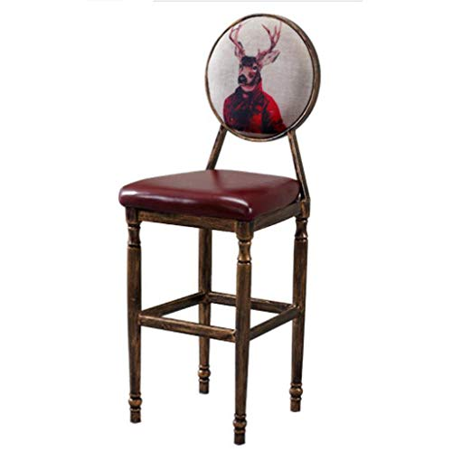 Huahua Furniture Barstuhl, Barhocker, Jahrgang massivholz bar café Stuhl American barhocker Hause Bequeme rückenlehne Stuhl (Color : H) -