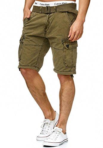 Army Jeans (Indicode Herren Bolton Cargo Shorts Bermuda Kurze Hose inkl. Gürtel aus 100% Baumwolle Regular Fit Army 3XL)