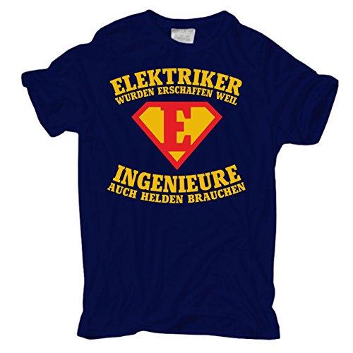 Männer und Herren T-Shirt ELEKTRIKER wurden erschaffen körperbetont dunkelblau