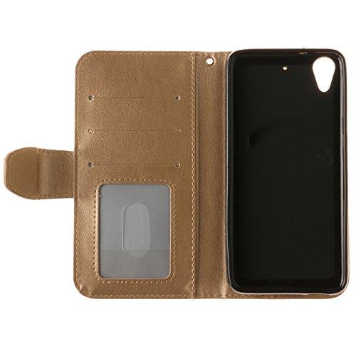 YHUISEN Geprägte Maple Leaf Design PU-Leder Flip Wallet Stand Case mit Kartensteckplatz für HTC Desire 626 / 626s ( Color : Black ) Gold