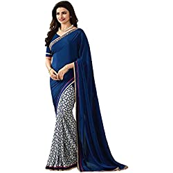 Tagline Women's Saree Centre Women's Printed Georgette Saree With Blouse Material For Party wear,Wedding,Casual sarees (blue)