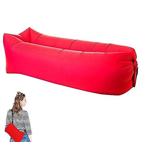 Aufblasbares Sofa tragbarer aufblasbarer Sitzsack mit integriertem Kissen, wasserdichtes aufblasbare couch Outdoor Sofa für Camping den Strand  zum Fischen (Rot)