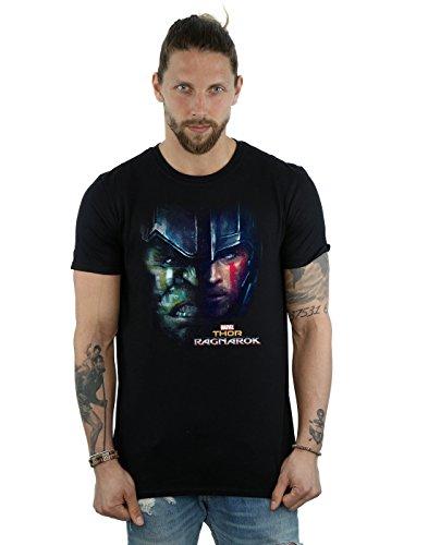 Marvel hombre Thor Ragnarok Hulk Split Face Camiseta X-Large Negro