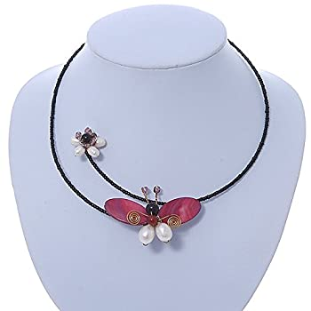 Shell Butterfly & Freshwater Pearl Flower Flex Wire Choker Necklace - Adjustable 1