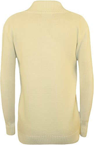 WearAll - Taille Plus Bouton col V à manches longues Pull Top - Pullover - Femmes - Tailles 42 à 48 Crème