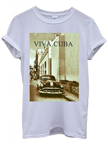 Viva Cuba Classic Car Retro Vintage Cool Funny Hipster Swag White Weiß Damen Herren Men Women Unisex Top T-Shirt Weiß