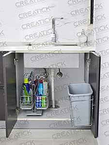 Creatick - Dustbin with Bin Holder (Bucket) 12 Liters - Stainless Steel Door Mounted - Silver Chrome.