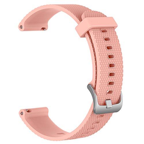 Bandas de repuesto para Garmin Vivoactive 3 / Vivomove / Vivomove HR Fitness Watch 20 mm Correa de silicona suave ajustable Quick Release Accesorio Watchband (Rosa, L)
