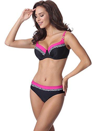 Merry Style Damen Bikini Set P62378TB Schwarz/Amaranth