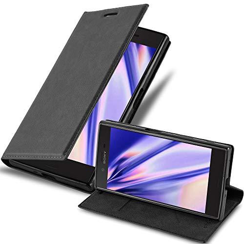 Cadorabo Hülle für Sony Xperia X Compact - Hülle in Nacht SCHWARZ - Handyhülle mit Magnetverschluss, Standfunktion und Kartenfach - Case Cover Schutzhülle Etui Tasche Book Klapp Style