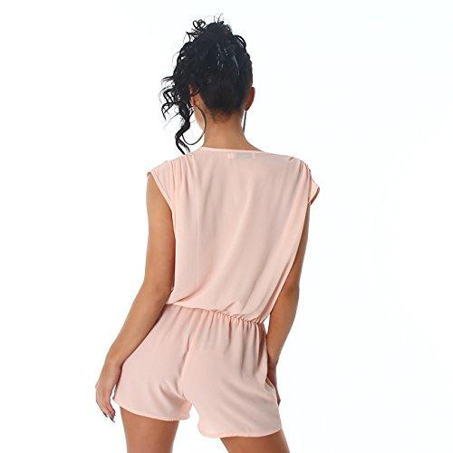 Voyelles Damen Overall Anzug Hausanzug Jumpsuit Bodysuit Einteiler Hosenkleid Hosenanzug Light Salmon