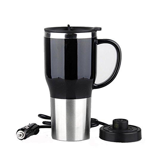 Preisvergleich Produktbild Auto HuanLeBao Auto Elektrische Wasserkocher Boiling 12/24 Volt Zigarettenanzünder Heizung Cup Vakuum Isoliert Edelstahl 450ML , Black , 12V