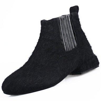 SANMULYH Scarpe Donna Pu Primavera Cadono Comfort Stivali Flat Per Esterni Di Kaki Nero Nero