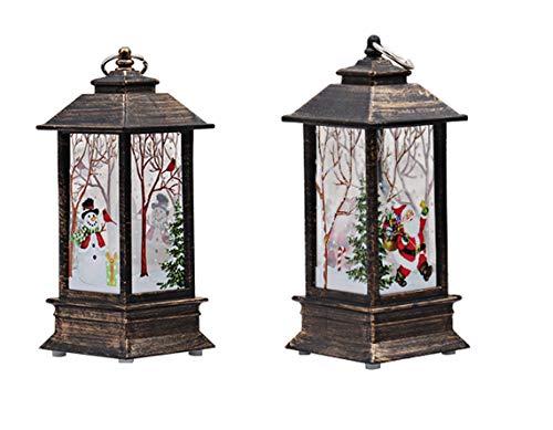 Momola Weihnachten Laterne,Laterne mit flackernder LED-Kerze Batteriebetrieben: 3 x AAA für Garten Weihnachten Party Hochzeit Innen und Außen Höhe ca.13 cm (Schneemann+Weihnachtsmann)