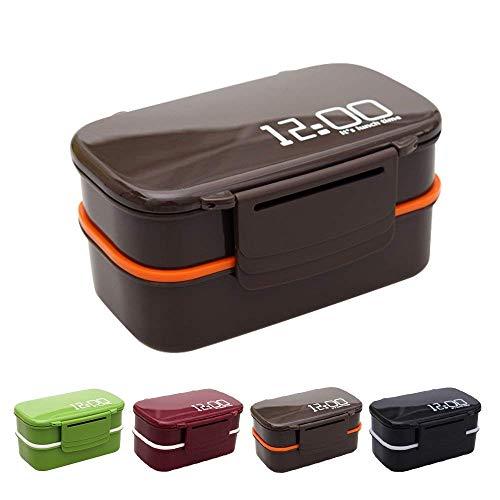 OldPAPA Bento Box 2-Schichten Brotdose für Kinder Junge Mädchen Erwachsene, Auslaufsicher Lunchbox, BPA Frei/FDA Zertifizierung Brotzeitbox, Lunchboxen für Büro Kindergarten Schule