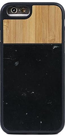 WOLA coque iPhone 6 en bois et marbre noir - TERRA housse iPhone 6s en marbre et véritable bambou naturel - Housse en bois Élégante Pour Votre iPhone de Apple
