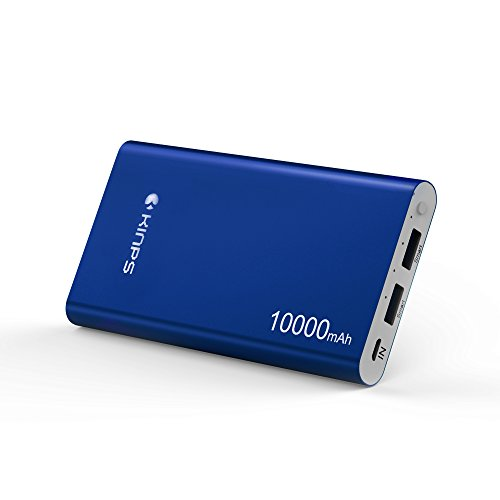 Powerbank, Kinps 10000mAh Portable Externer Akku (Dual Port, Total 5V/3.5A) with Intelligent Tech for Apple iPhone, iPad,and Android Devices. (Blau)