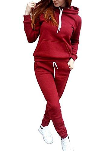 WOZNLOYE Damen Casual 2pcs Trainingsanzug Langarm Sweatshirt mit Kapuze Jogger Kapuzenpullover...