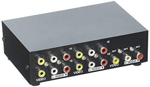Duttek 4-Port AV-Schalter Cinch-Umschalter 4 In 1 Out Composite Video L / R Audio-Auswahlbox für DVD STB Spielkonsolen
