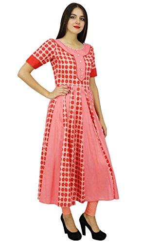 Bimba Boho Chic Cotton Designer Kurti Kleid Long flaired Anarkali Kurta Pfirsich