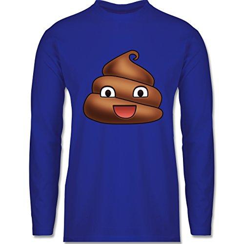 Shirtracer Statement Shirts - Kackhaufen Emoji - Herren Langarmshirt Royalblau