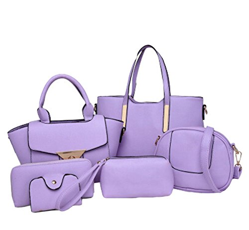 Sacchetto Di Sacchetto Dell'unità Di Elaborazione Della Signora Sei Insiemi Della Borsa Del Sacchetto Di Spalla Borsa Messenger Bag Atmosfera Semplice Purple