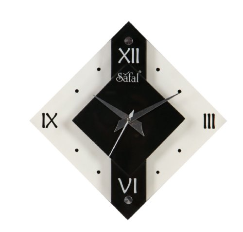 Safal Wooden Wall Clock (20.32 cm x 20.32 cm, Black, SQ 3739)