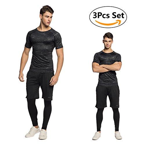 Niksa Ensemble de Fitness Homme 3 Pièces Vêtements de sport Compression Running Jogging Athletisme Football Sportswear