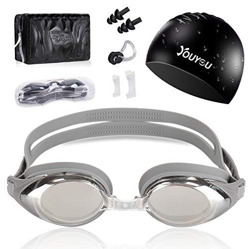 HAISSKY Schwimmbrillen für Erwachsene Kinder, Anti-Fog UV-Schutz beschichteter Linse Kein Auslaufen Schwimmen Brillen,Geschenke Nasenklammer,Ohrstöpsel & Badekappe (Silber)