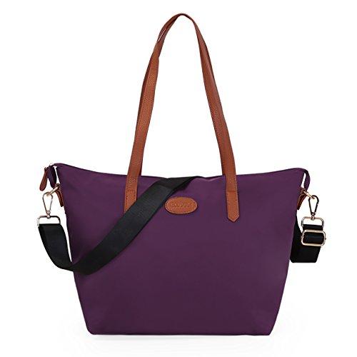 ECOSUSI Shopper Ufficio Tote Bag Borse a Spalla Donna Viola