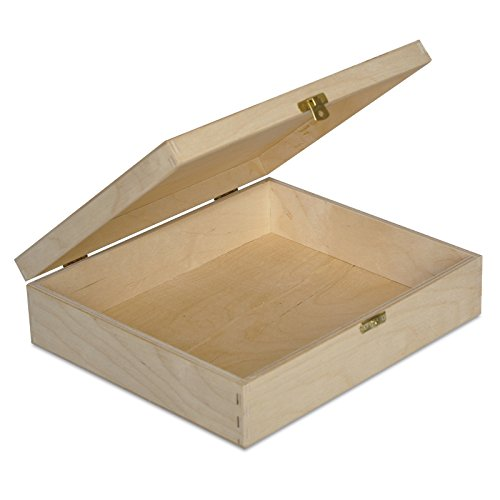 Große Holzkiste Kiste Spielzeugkiste Erinnerungsbox Aufbewahrungsbox Holzbox mit Deckel - 29 x 25 x 7,5 cm - Unlackiert Kasten - ohne Griffen - Ideal für Wertsachen, Spielzeuge und Werkzeuge (Werkzeug Truhe Kasten)
