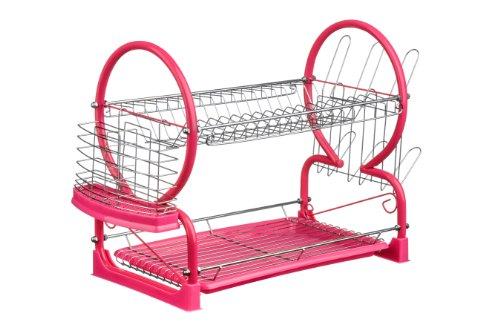 Premier Housewares 2-Tier Dish Drainer - Hot Pink