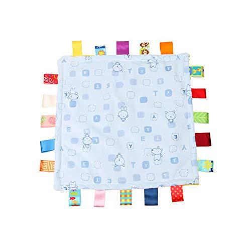 Baby Boy bleu Tag Couverture de sécurité, Super Couverture souple Tag, Consolateur sécurité avec coloré Balises meilleur cadeau pour enfant Tout-petit Enfant