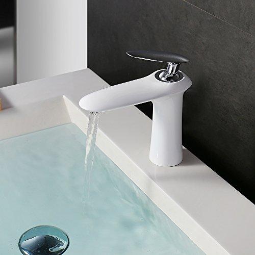 Homelody – Edle Waschtischarmatur, Einhebelarmatur, ohne Ablaufgarnitur, Luftsprudler, Weiß-Chrom - 4