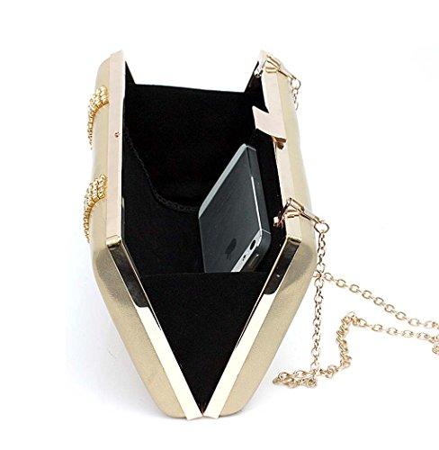 KAXIDY PU Pelle Diamante Frizione Borsa Pochette da Donna Rhinestone Sacchetto di Sera Della Frizione Oro