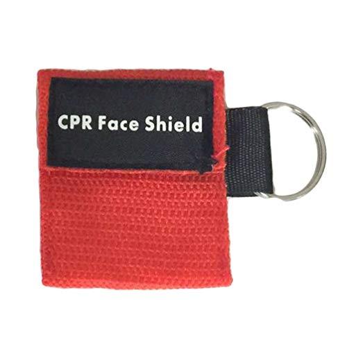 Oyamihin 2 Stücke Tragbare Erste Hilfe Mini CPR Keychain Maske/Gesichtsschutz Barrier Kit Health Care Masken 1-Wege-Ventil CPR Maske - Rot -