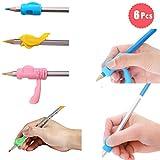 DoGeek Ergonomische Schreibhilfen für Stifte Silikon Stift Griffe Griffhalter Bleistift Grips Stiftehalter(6 pack, mischen)