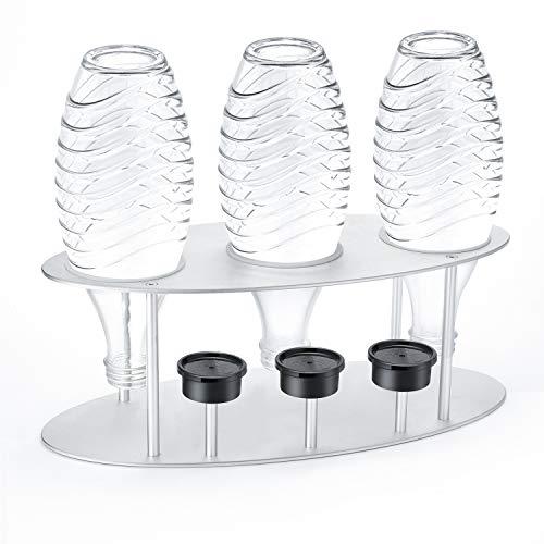Jelly Comb Abtropfhalter, Flaschenhalter Abtropfständer mit Deckelhalterung aus Alulegierung für SodaStream Crystal, Glaskaraffen, Glasflasche