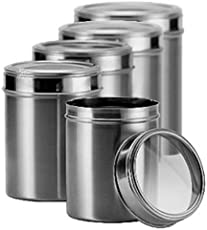 Dynore Stainless Steel Canister Set, Set of 5, Silver