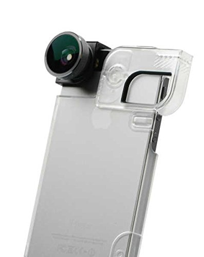4-IN-1 LENS SET for iPhone 5/5s/SE + QUICK-FLIP CASE + PHOTO ADAPTOR (Space Grey Lens/Black Clip/Clear Case)