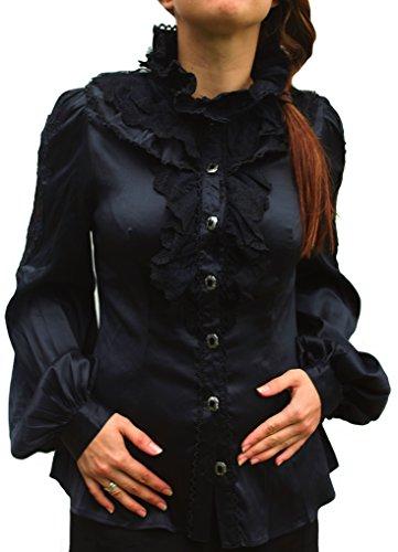 Festliche chemisier en satin avec broderie de punk rave bURLESQUE barock y-471 costumes tailleurs Noir - Noir