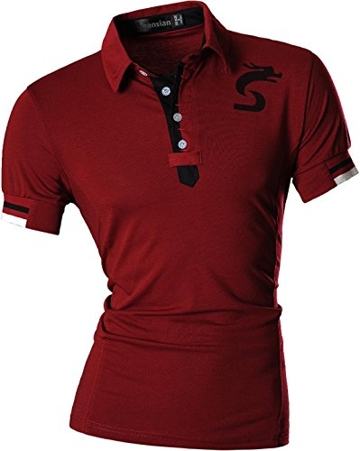 jeansian Herren Freizeit Slim Fit Short Sleeves Casual POLO T-Shirts D403 U007_WineRed